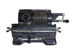 Mechanical adding machine. Old mechanical manual counting machine for mathematical calculations royalty free stock image