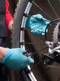 Mechanical adjusting the spokes of a bicycle Royalty Free Stock Photography