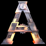 Mechanical alphabet made from iron. Royalty Free Stock Photography