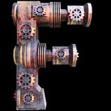 Mechanical alphabet made from iron. Stock Photos