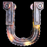 Mechanical alphabet made from iron. Royalty Free Stock Image