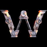 Mechanical alphabet made from iron. Royalty Free Stock Photos