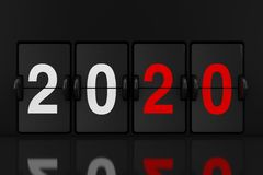 Mechanical Analog Flip Clock Board with 2020 New Year Sign. 3d Rendering. Mechanical Analog Flip Clock Board with 2020 New Year Sign extreme closeup. 3d vector illustration