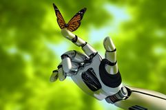The mechanical arm. And a butterfly royalty free illustration