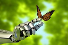 The mechanical arm. And a butterfly.3d render vector illustration