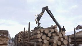 Mechanical arm loader unloads timber logs from heavy truck at sawmill facility. Cold cloudy winter day stock video