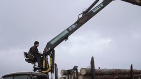 Mechanical arm loader unloads wood logs from heavy truck at sawmill factory. Cold cloudy winter day stock video