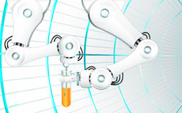 Mechanical arm with a needle injecting orange liquid in a laboratory test tube Royalty Free Stock Photos
