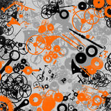 Mechanical background. Orange, black and gray mechanical background vector illustration