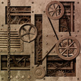 Mechanical Background. A Mechanical Industrial Background with Gears and Pulleys royalty free illustration