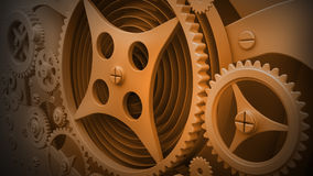 Mechanical Background with Gears. A Mechanical Background with Gears and Cogs 3D render ( high resolution Stock Photos