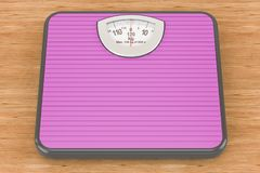 Mechanical Bathroom Scale on the wooden background. 3D rendering. Mechanical Bathroom Scale on the wooden background. 3D Stock Photography