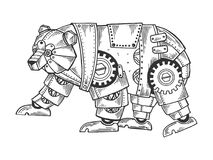 Mechanical bear animal engraving vector. Illustration. Scratch board style imitation. Black and white hand drawn image stock illustration