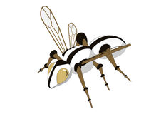 Mechanical bee. Illustration of a bee-robot. Simple solid fill only - no gradient, no gradient mesh Royalty Free Stock Photo