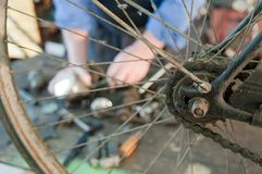 Mechanical bicycle wheel hub Royalty Free Stock Image