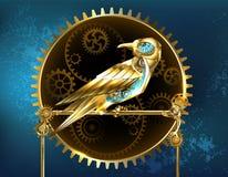 Mechanical bird Steampunk bird. Mechanical, golden bird with brass gears on a turquoise background. Steampunk style stock illustration
