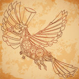 Mechanical bird in steampunk style on aged paper background. Royalty Free Stock Images