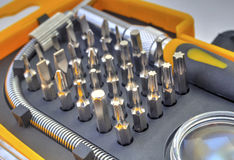 Mechanical bit tool set Royalty Free Stock Photography