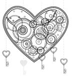 Mechanical black Valentine heart. Over white Stock Photography