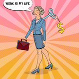 Mechanical Business Woman Going to Work with Dollar Sign Key on her Back. Pop Art illustration. Mechanical Business Woman Going to Work with Dollar Sign Key on Stock Photos