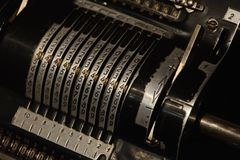 Vintage mechanical calculator calculating counting machine. Detail mechanical calculator calculating machine Stock Images