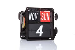Mechanical calendar retro date isolated. royalty free stock images