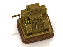 Mechanical cash register old-coated Stock Images