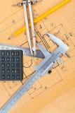 Mechanical circuit, ruler, compass, calipers. Mechanical circuit, a ruler, compass, calipers Stock Images
