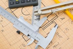 Mechanical circuit, a ruler, compass, calipers Stock Photos