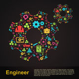 Mechanical and civil engineering gear shape infographic banner t. Emplate layout icon design of profession tools sign and symbol used for website with sample Stock Photography