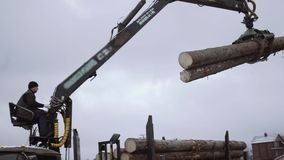 Mechanical claw loader unloads wood logs from heavy truck at sawmill factory. Cold cloudy winter day stock footage