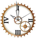 Mechanical clock with arrows on white background Stock Images