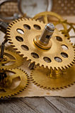 Mechanical clock gears Royalty Free Stock Photo