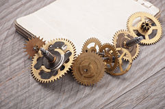 Mechanical clock gears Stock Photography