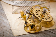 Mechanical clock gears Stock Image