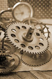 Mechanical clock gears Royalty Free Stock Photography