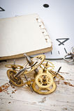 Mechanical clock gears Stock Photos