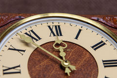 Mechanical clock. Hands and face of the old mechanical watches royalty free stock photo