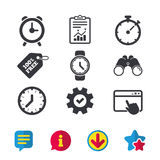 Mechanical clock time icons. Stopwatch timer. Stock Image