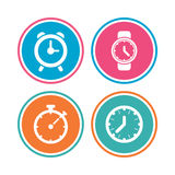 Mechanical clock time icons. Stopwatch timer. Royalty Free Stock Photo
