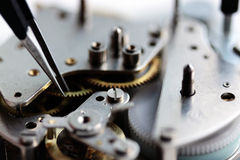 Mechanical clockwork inside Stock Photos