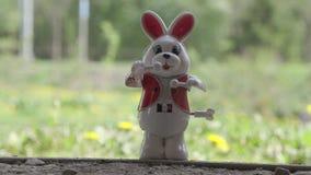 Mechanical Clockwork Toy Bunny Drummer.  stock video footage