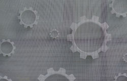 Mechanical Cogs on Canvas Stock Photo
