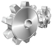Mechanical cogs or gears illustration. A pair of shiny silver steel metallic cog or gear wheels illustration with dynamic perspective. Can be used as an icon or