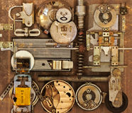 Mechanical collage with different items Royalty Free Stock Image