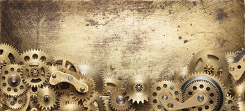 Mechanical collage. Made of clockwork gears stock images