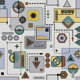 Mechanical colored seamless pattern II. (background royalty free illustration