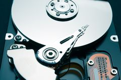 Mechanical components of the hard disk. Recover deleted files and information royalty free stock photo