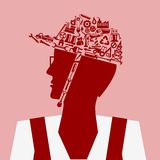 Mechanical Concept. Mechanical icon forming hardhat shape Royalty Free Stock Image