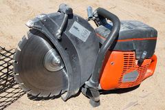 Mechanical concrete block saw Stock Photo